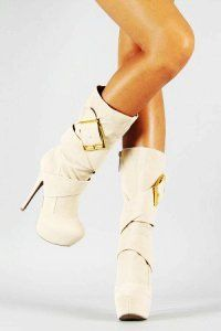 White Platform High Heel Boots - Cute High Heel Boots