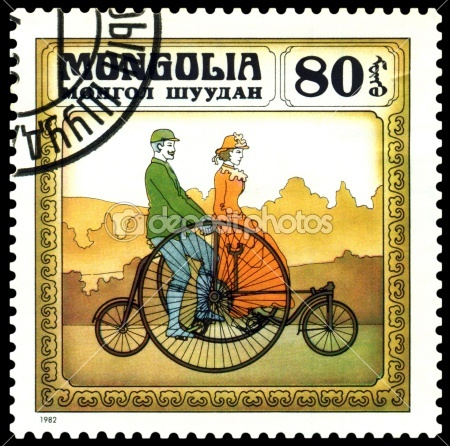 Vintage postage stamp.  England bicycle  1870. by Sergey Ozerov - Foto de Stock