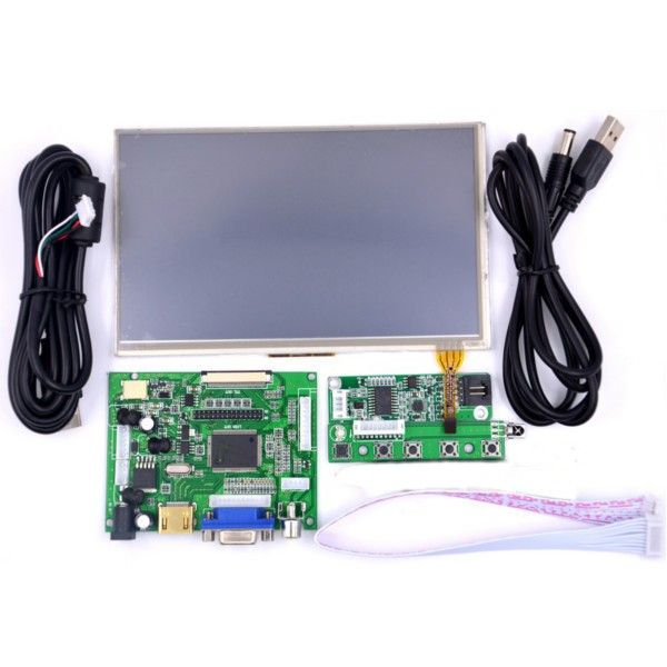 New Raspberry Pi 7 touchscreen kit 7-inch LCD Screen + Touch/LCD Driver board + USB/ Rainbow/ Cable line + Long key board