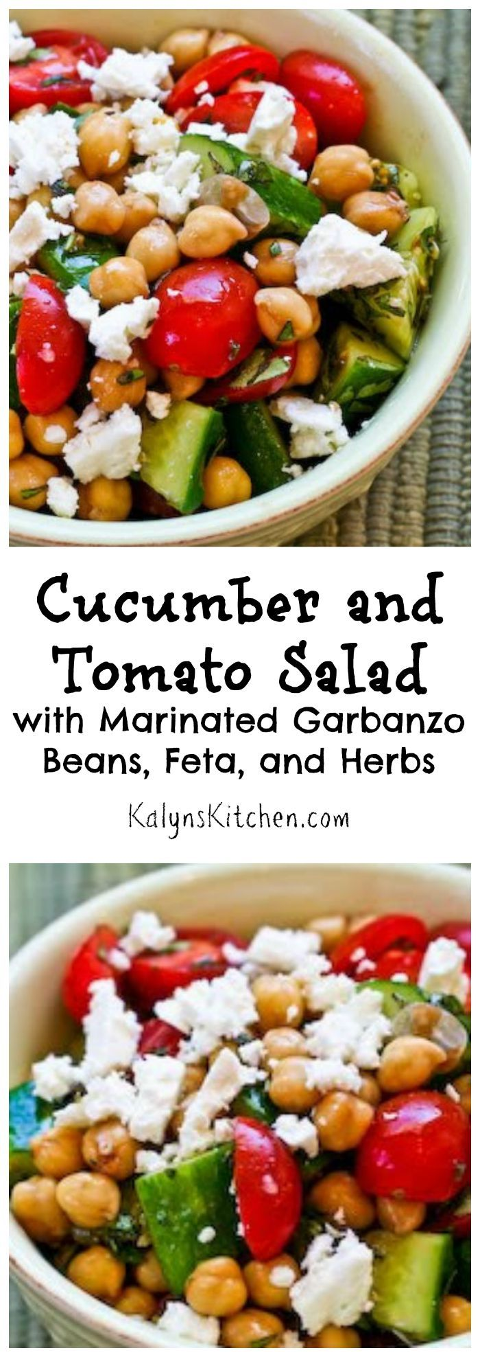 This easy Cucumber and Tomato Salad with Marinated Garbanzo Beans, Feta, and Herbs has been a huge hit on the blog. Make this for a late-summer party while the cucumbers are so great. [from KalynsKitchen.com]