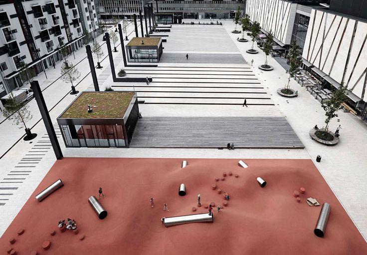I danesi Polyform Architects disegnano in una cittadina a nord di Stoccolma in Svezia una piazza polifunzionale