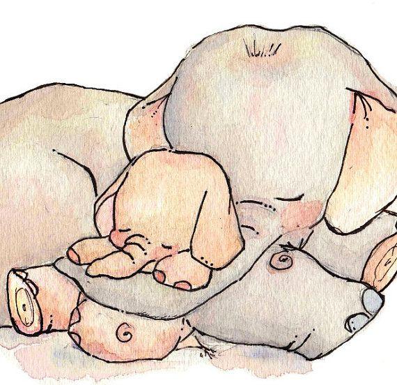 Children Art Print. My BABY ELEPHANT. 8X10 Print. by LoxlyHollow, $24.00