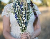 Wildfower Wedding  Brides Bouquet of Lavender Larkspur Wheat and other dried flowers