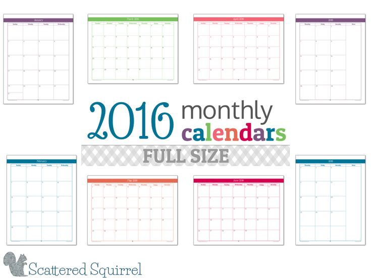 2016 monthly calendar printables full size edition printables