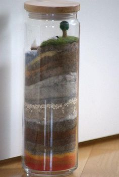 Earth layers in a jar. Great way to show the different layers of the earth.