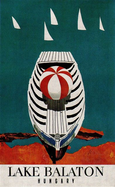 Vintage Travel Poster. Lake Balaton, Hungary. By Philipp Giegel. 1967 Rowboat, sailboats Great graphics!