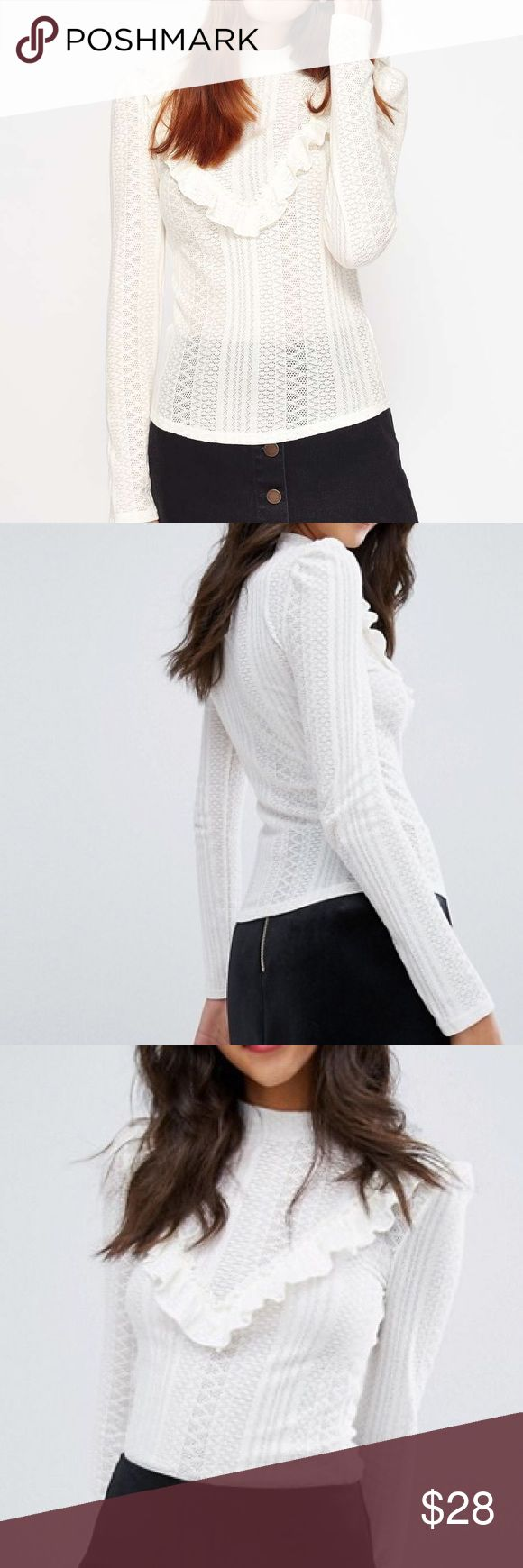 💥 New Fashion Cream ruffle long sleeve knit top Brand new with tag Miss Selfridge top. Size: 6 Color:Cream Pointelle knit High neck Ruffle detail Regular fit - true to size Machine wash 67% Cotton, 33% Polyester miss selfridge  Tops
