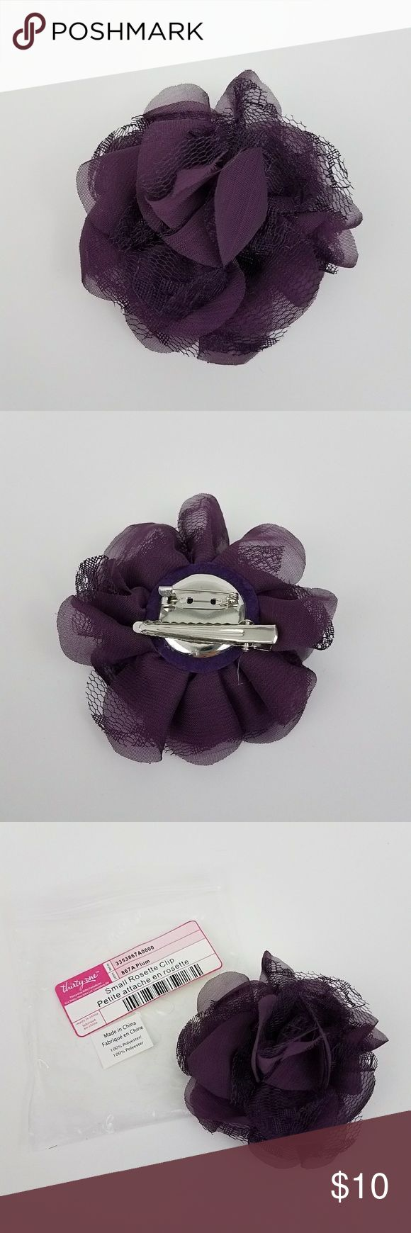 {Thirty-one} Rosette Hair Clip/Brooch-Plum NWT {New In Package, NWT} Beautiful, plum colored, rosette is made textured lace & organza fabric. Features both a pin and clip on the back for versatile use. Clip in your hair or pin as a broach, on a purse, handbag, jacket, shirt, etc. Approx. 4 inches in diameter. @405dec Thirty-one  Accessories Hair Accessories