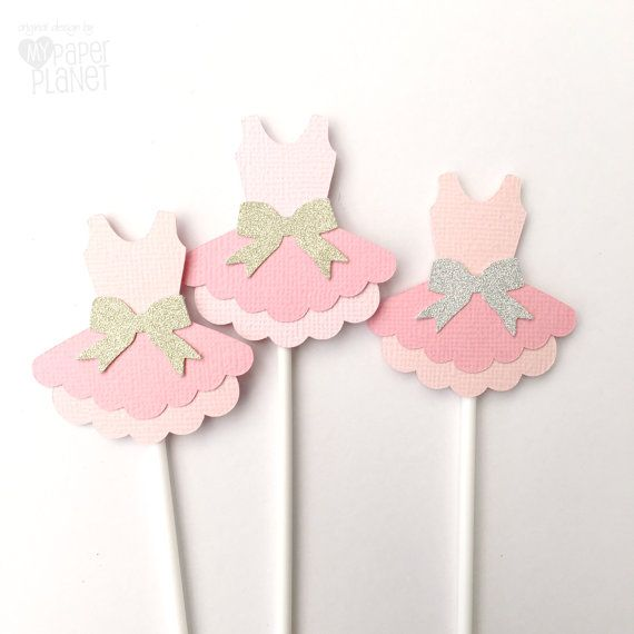 Ballerina Princess Cupcake Toppers - Ballet Tutu shape. Baby shower, birthday…