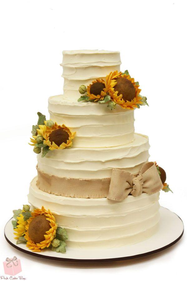 Rustic Buttercream Sunflower Wedding Cake Wedding