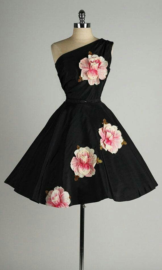 Short black dress with pink roses