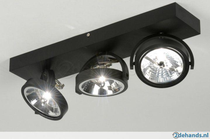 design industriele zwart aluminium spots of wit v bank tafel