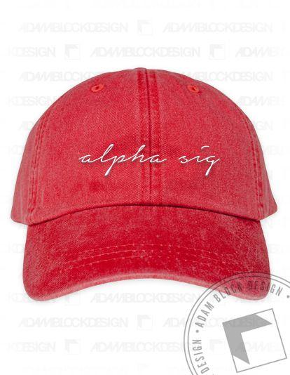 Alpha Sigma Alpha - Script Name Hat in 2 colors  by ABD BlockBuy! Less than $25 each plus shipping | Adam Block Design | Custom Greek Apparel & Sorority Clothes | www.adamblockdesign.com