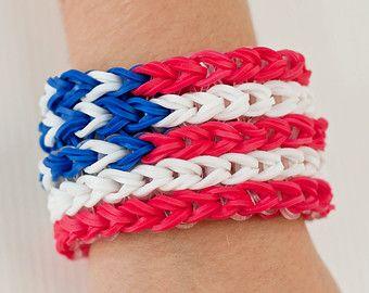 Rainbow Loom Red White & Blue July 4th Bracelet American Flag