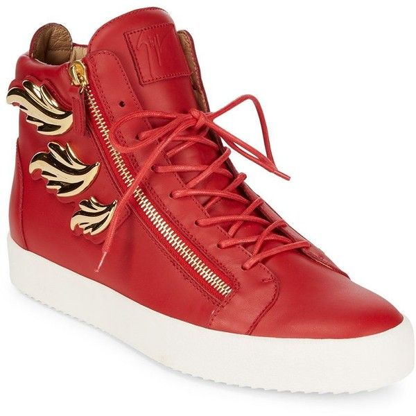 Giuseppe Zanotti Triple Wing Leather High-Top Sneakers ($500) ❤ liked on Polyvore featuring men's fashion, men's shoes, men's sneakers, mens leather high tops, mens leather dress shoes, mens high top sneakers, red wing mens shoes and mens dress shoes
