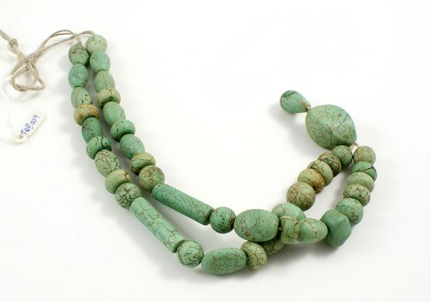 Turquoise Bead Strand from Yemen with Pendant Stone
