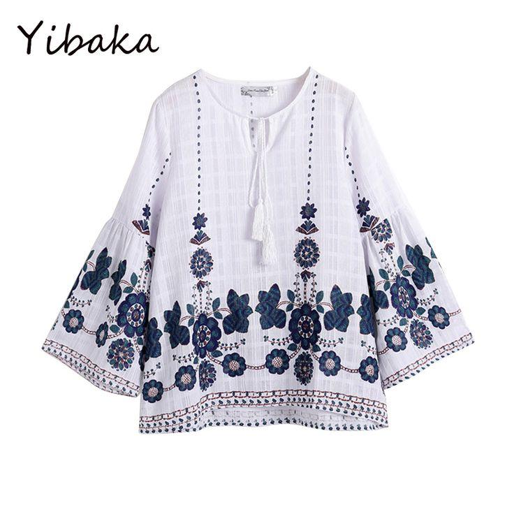 Yibaka XXL, XXXL 2017 плюс Размеры женская рубашка модные Круглый воротник принты динамик рукава хлопчатобумажная рубашка женская купить на AliExpress