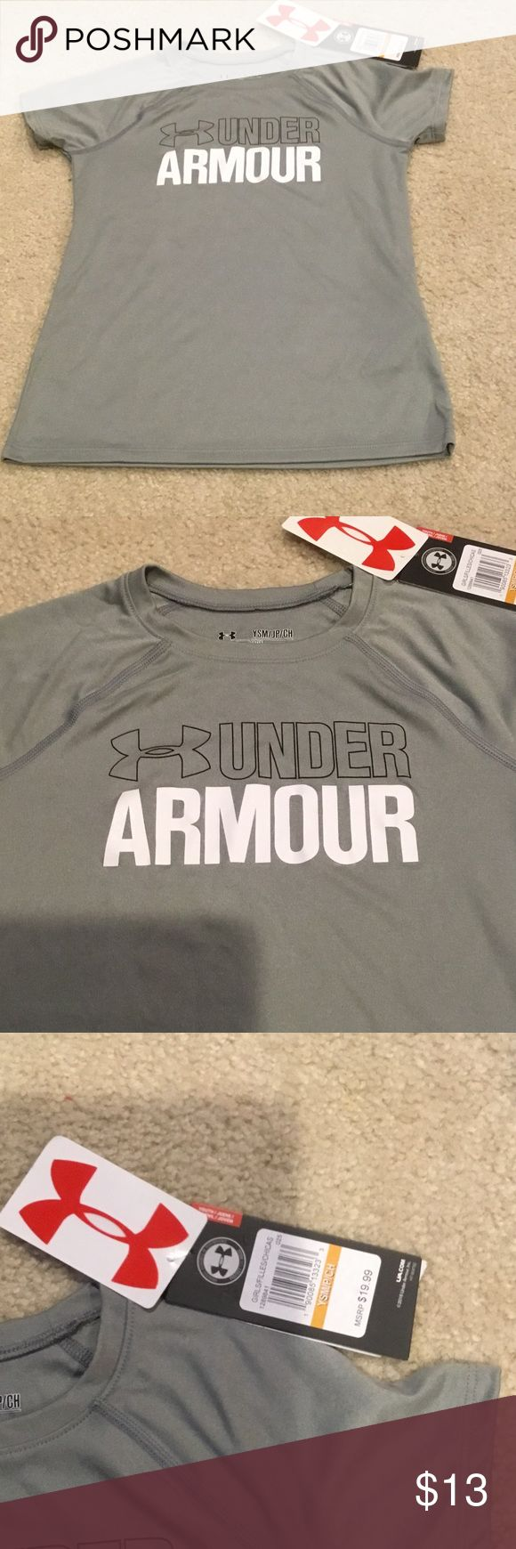 NWT Girls Under Armour Wordmark Tee size Ysm NWT Girls 7-16 Under Armour UA Wordmark Short sleeve tee size Ysm. Crewneck. Moisture transport system wicks sweat and dries fast. Compared to the other two Ysm UA tees I have for sale, this seems to be a little smaller than the others. Under Armour Shirts & Tops Tees - Short Sleeve