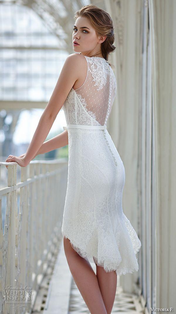 Victoria F. 2016 #Wedding Dresses — Pura Eleganza #Bridal Collection | #Wedding Inspirasi #shortweddingdress #weddingdress #wedddings
