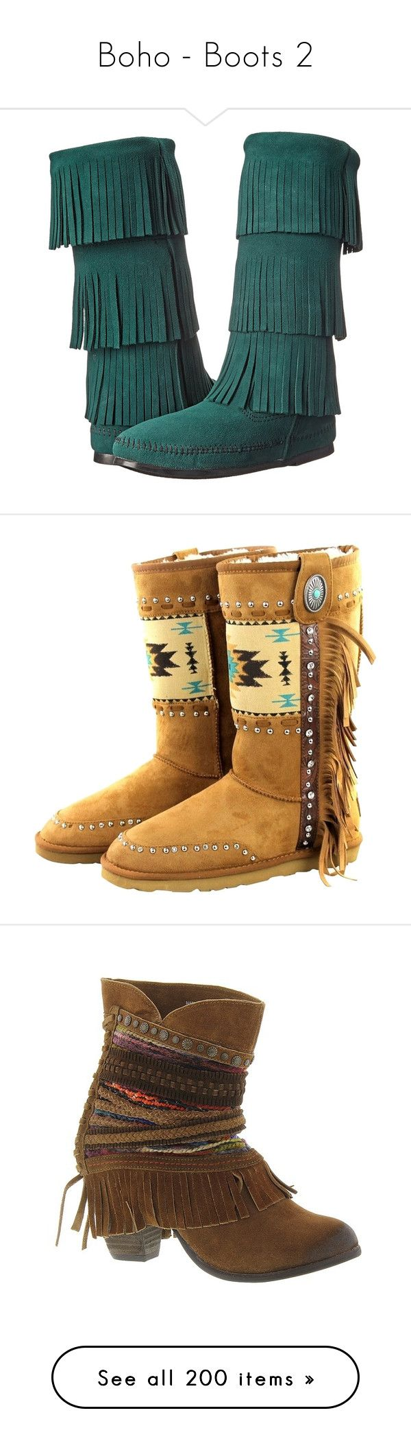 """""""Boho - Boots 2"""" by helenehrenhofer ❤ liked on Polyvore featuring shoes, boots, mid-calf boots, slipon boots, minnetonka, mid calf fringe boots, long fringe boots, slip on boots, brown and pre owned shoes"""