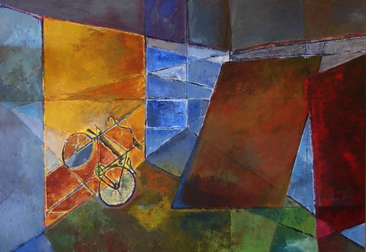 Abstract space with bicycle by Rosie Yacoupian