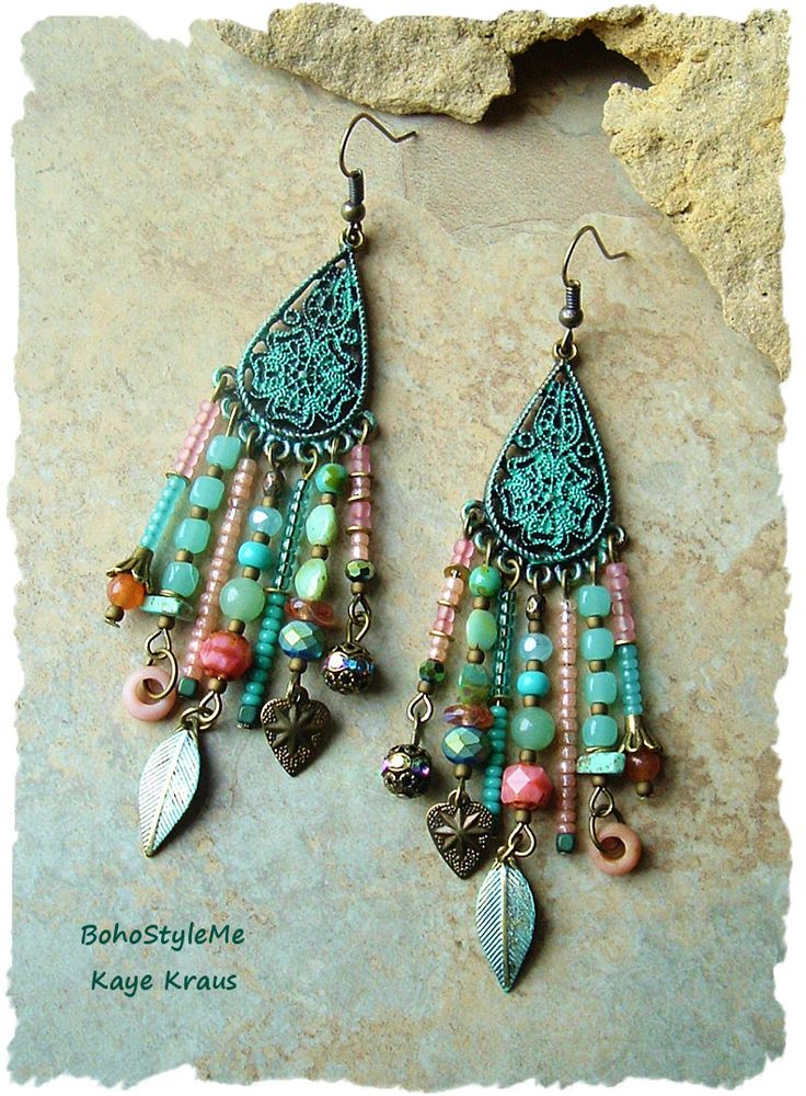 Boho Gypsy Assemblage Earrings, Colorful Bohemian Jewelry, Mixed Media, Nature Inspired, BohoStyleMe, Kaye Kraus by BohoStyleMe on Etsy