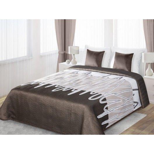 Luxusné obojstranné prehozy na posteľ hnedo bielej farby s čiarkami