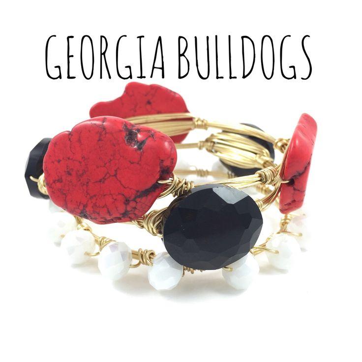 University of Georgia Bulldogs Game Day Wire Wrapped Bangles Set, Courtney And Courtnie, Slab, Crystal Bracelet, Handmade Jewelry by CourtneyAndCourtnie on Etsy https://www.etsy.com/listing/241587854/university-of-georgia-bulldogs-game-day