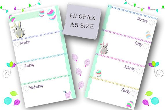 Filofax A5 size  printable week in 2 pages,easter themed, filofax inserts, inserts refill , planner pages, Instant Download!