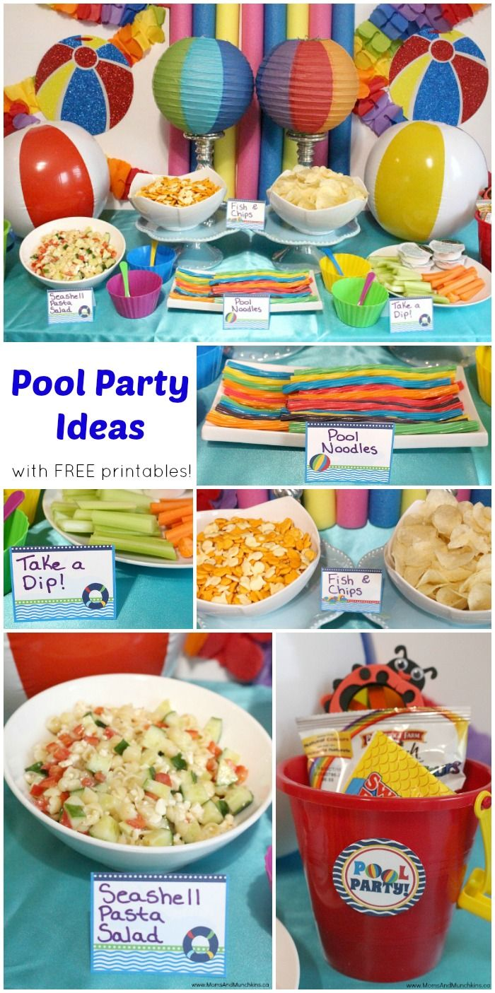 Indoor Pool Party Ideas kids pool party water bottle favors Pool Party Ideas With Free Pool Party Printables