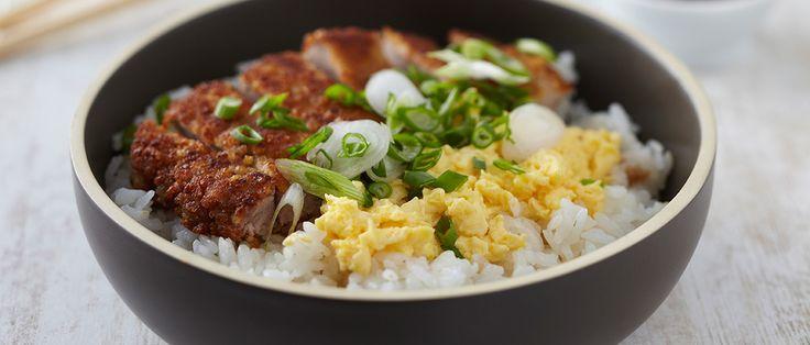 Recette Katsudon : porc pané et riz sauce sucrée-salée