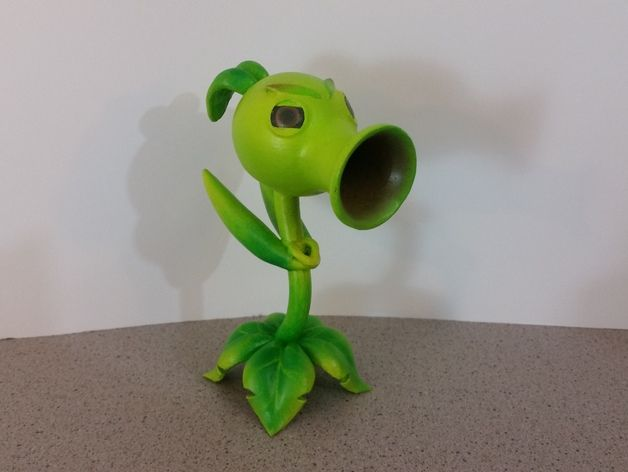 It's time for another Plants vs Zombies character! This time I'm doing the Peashooter! Check out the video here for a closer look: https://youtu.be/QpMqgUU2H5Y  I created this model in Fusion 360 using forms to create most of the body shapes. Then I used sketches to carve out the final details. It took about 5 hours to model. After that I sent it to my Robo3D R1 printer. It took roughly 6 hours to print. Then I handed it off to my wife and she did the post processing. She sanded and cleaned…