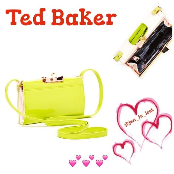 """❗️FINAL PRICE❗️ Ted Baker Patent Bow Xbody Purse Gorgeous bright green cross-body purse by Ted Baker.  This is new with tags and dust bag.  Detachable cross-body strap. Framed with crystal bow kiss-lock closure & fold over magnetic strap.  Patent finish.  3 card slot and zip closure.  4.25"""" by 7"""" by 1"""".  This is authentic and new with tags. Ted Baker Bags Crossbody Bags"""