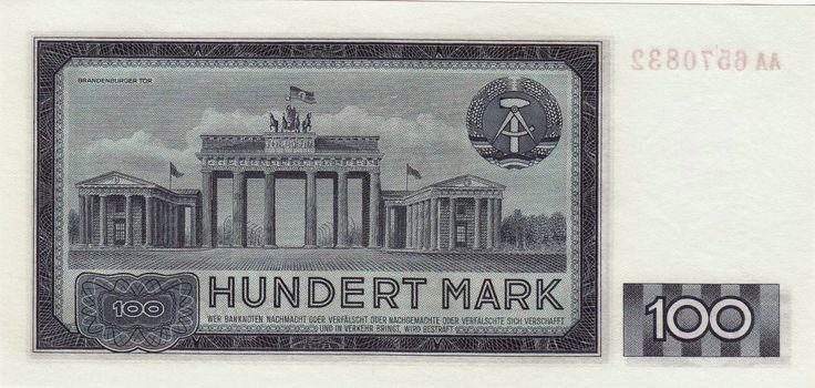 German Democratic Republic Banknotes 100 Mark banknote 1964 Brandenburg Gate in East Berlin