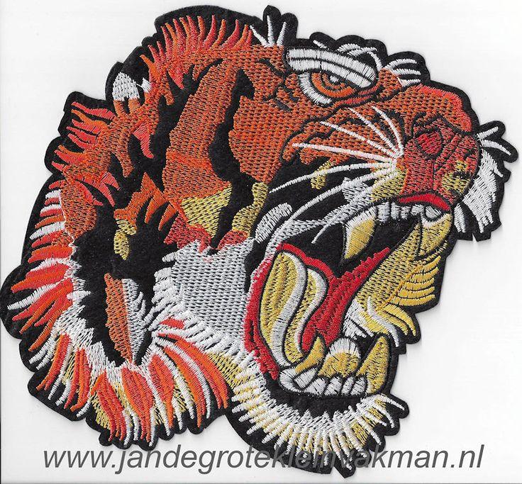 Opnaaibare en opstrijkbare applicatie, tijger, ca. 170x175mm  fraaie decoratie voor spijkerjasjes, jeans, tassen en nog veel meer   Artikelcode: APP-TIJGER-ORANJE