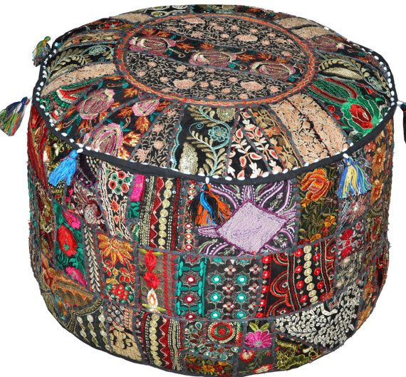 Black Bohemian Pouf Ottoman Embroidered Footstool