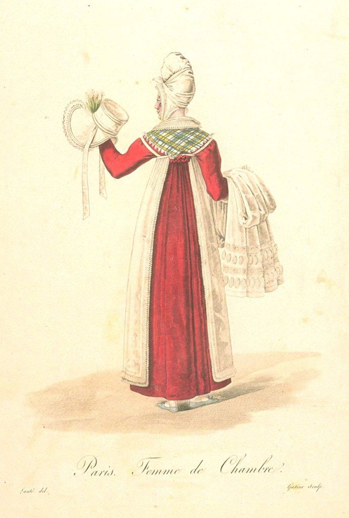 Femme de chamber. Presumably translates as lady's maid? She carries a hat and bonnet to dress her lady. The publication, Les Ouvriers de Paris (1824) details women's employments in Paris and shows a sequence of fashion from late 1810s to early 1820s. Image from Bunka Gakuen University, Japan http://digital.bunka.ac.jp/kichosho_e/index.php