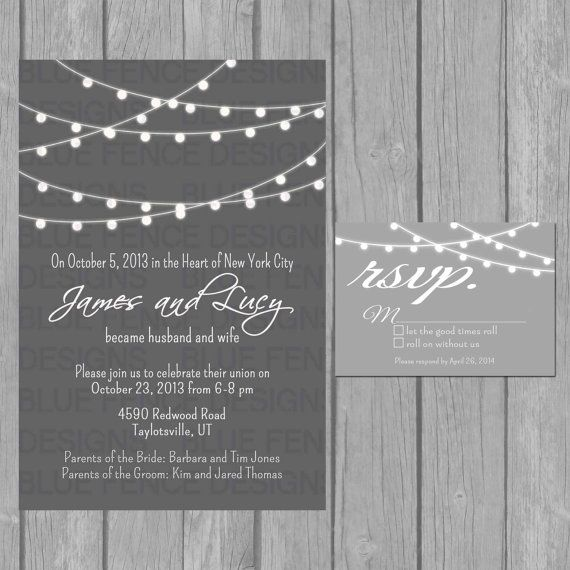 simple wedding invitation modern black and by BlueFenceDesigns, $15.00