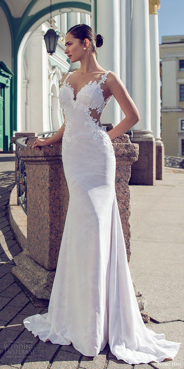 nurit hen 2016 bridal sleeveless sweetheart lace straps sheath wedding dress (02) sexy elegant mv