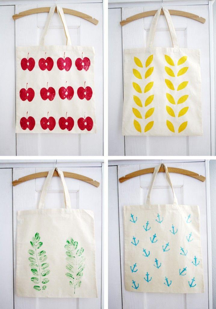 DIY Basteln Stofftaschen mit Kartoffeldruck aufstylen - schoenstricken.de