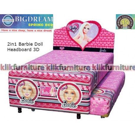 Harga Springbed Bigdream 2in1 BARBIE DOLL 3D Condition:  New product  Springbed anak 2 in 1 motif gambar Barbie Doll Headboard 3D karakter motif lisensi resmi garansi spring 15 tahun tersedia ukuran 100x200 dan 120x200 cm