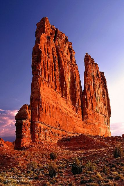 Courthouse Towers in the Afternoon Sun at Arches National Park, Utah