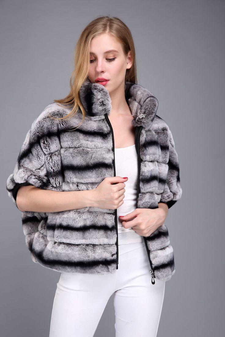 rex rabbit fur chinchila jacket ,USD168.Many more fur models,please contact us .eileenhou.lvcomeff