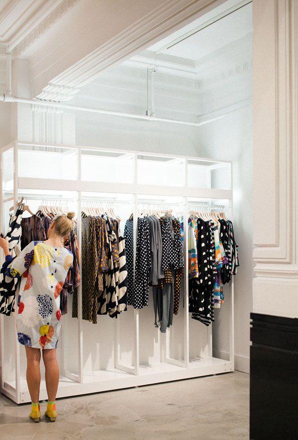 Marimekko Sydney Store   Nice idea for an open closet
