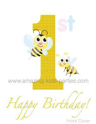 FREE Baby Bee 1st Birthday Greeting Card