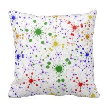 #ThrowPillow #Cushion Fractal multi colored pillow.  This designed was made using a fractal, created in Apophysis, then made into a paint brush in Photoshop.  Bright colourful décor for your living room. From $29.95