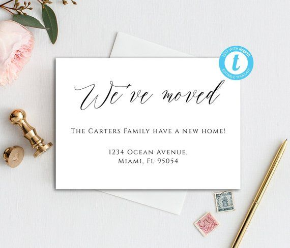 Digital Moving Card We Ve Moved Card Template Minimal Etsy Moving Cards Card Template New Address Cards