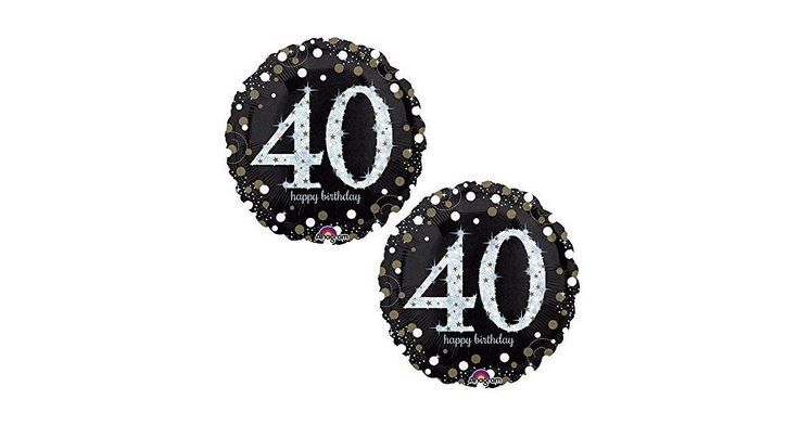 "Happy 40th Birthday Party Foil 18"" Balloons - Black, Gold and Silver (2 Pack)"