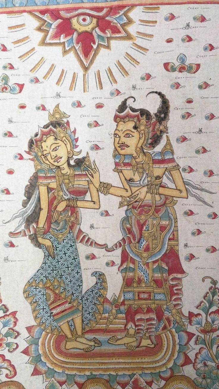 Kamasan painting of Rama and Sinta from the Ramayana. Bali. #kamasan www.kulukgallery.com