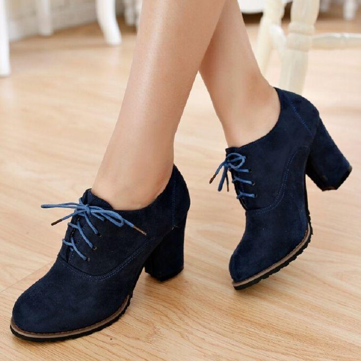 2015 Nuevo Otoño Del Resorte Zapatos de Tacón Alto de Las Mujeres de La Vendimia de Matorral Talón Grueso Cordón Oxfords Para Bombas de Las Señoras de Oficina tacones en Bombas de las mujeres de Zapatos en AliExpress.com | Alibaba Group